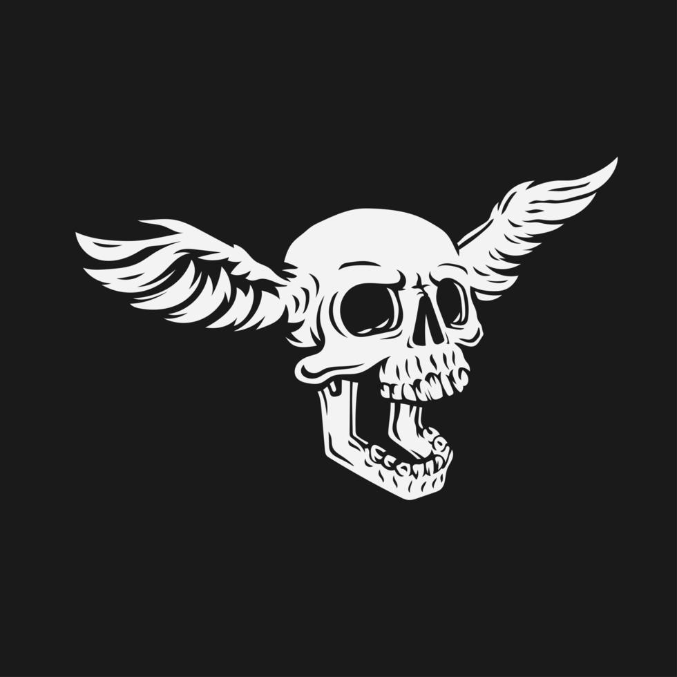 skallehuvud med vingar på sidoben vektor