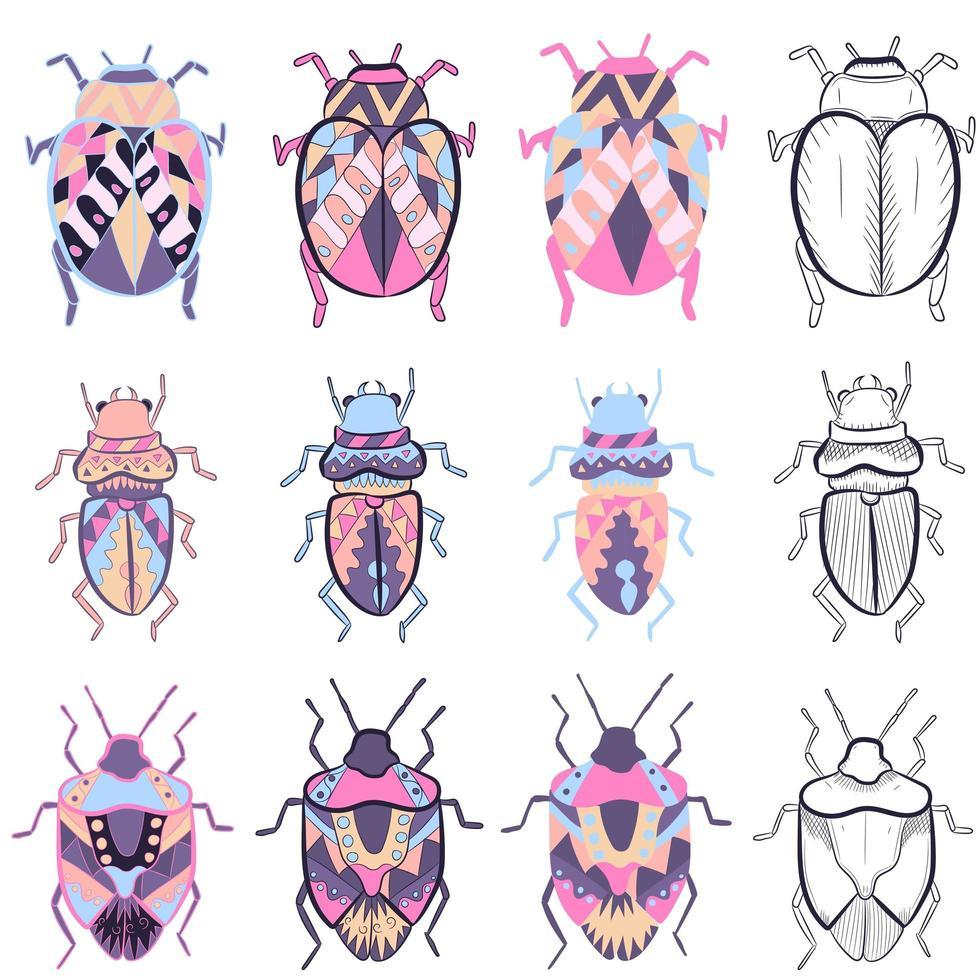 kleine Elemente packen mit verschiedenen Zeichnungen von bunten Käfern vektor
