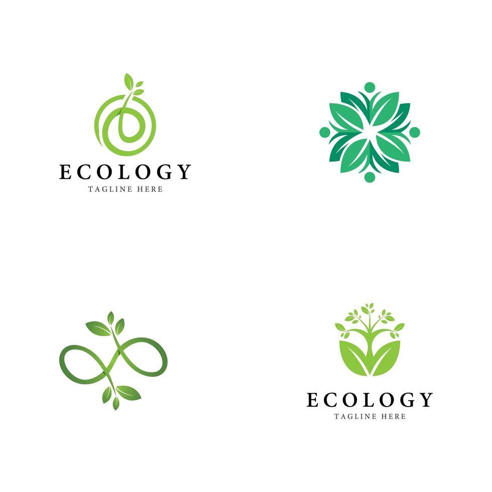träd blad logotyp ikonuppsättning vektor