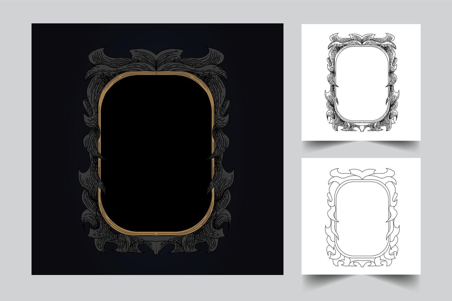 Verzierung Vintage Hintergrund Kunstwerk Illustration Set vektor