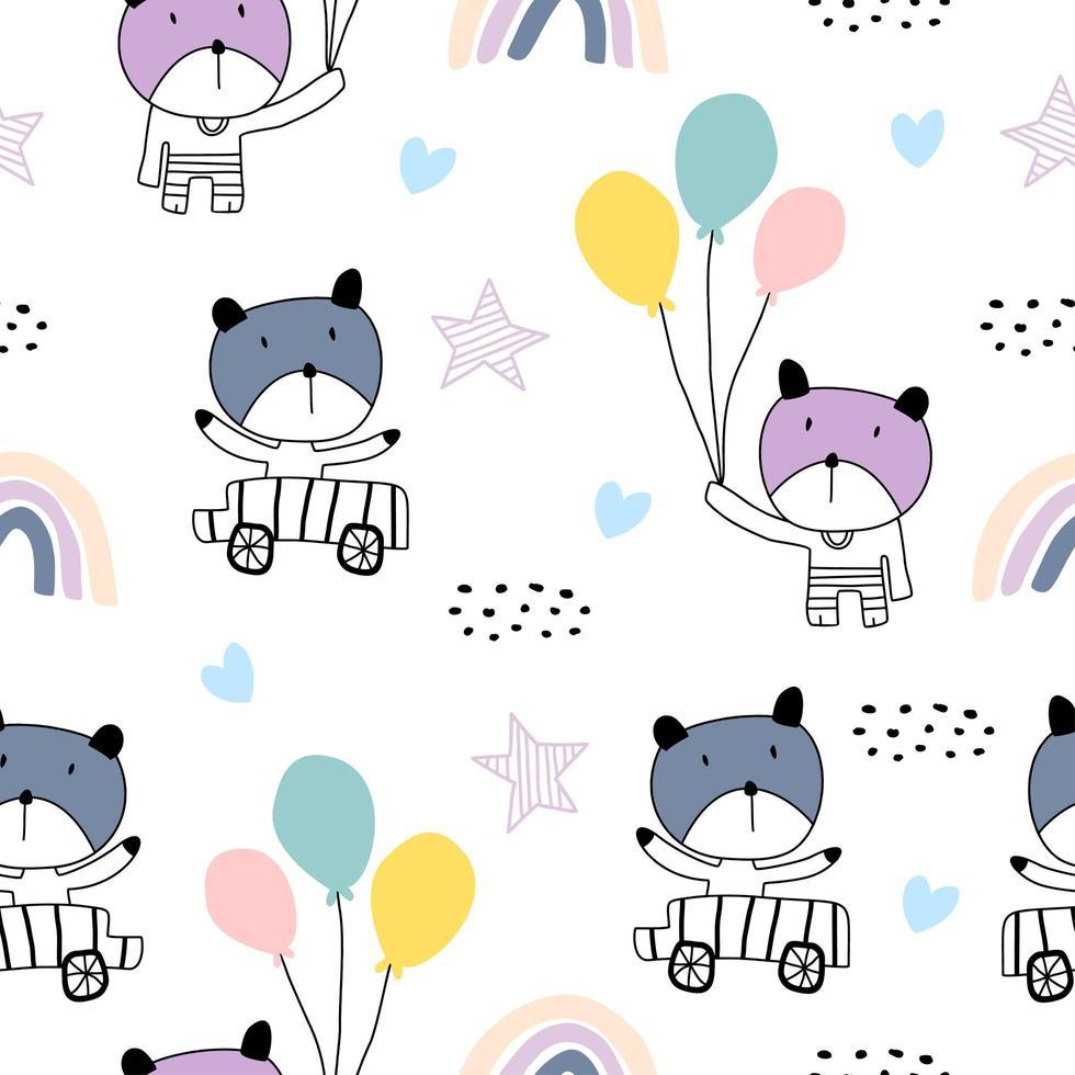 sömlösa mönster med söta färgglada kattungar. katter illustration i skiss stil. vektor