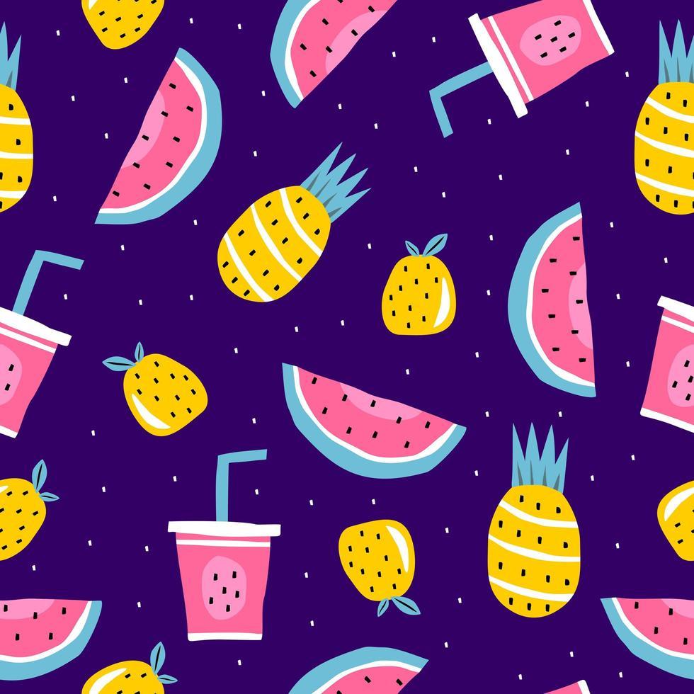 sommar sömlösa mönster, vektorillustration med vattenmelon, ananas, apelsinfrukter och juice. vektor