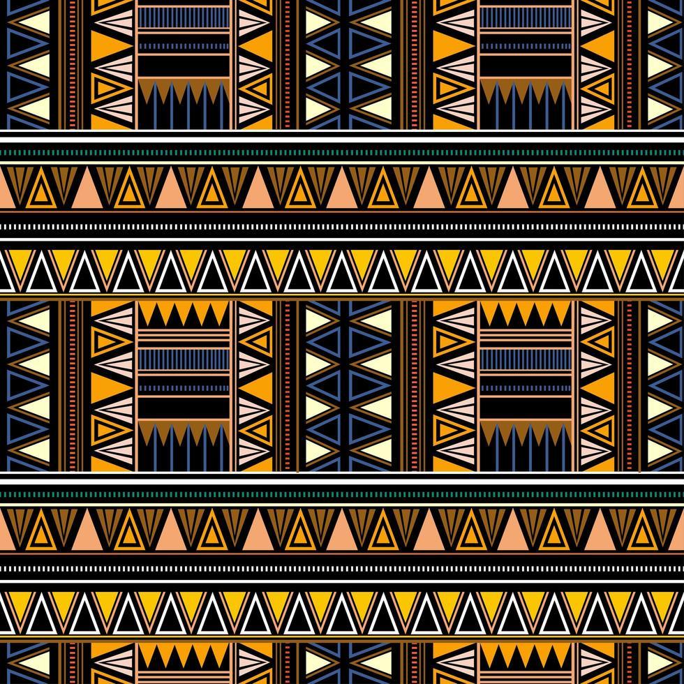 nahtloses Stammesmuster im afrikanischen Stil auf schwarzem Hintergrund. vektor