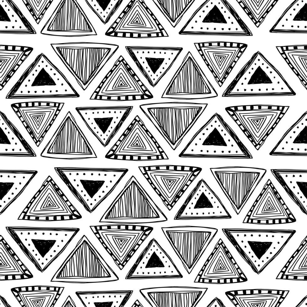 Dreieck Hand gezeichnetes ethnisches nahtloses Muster. vektor