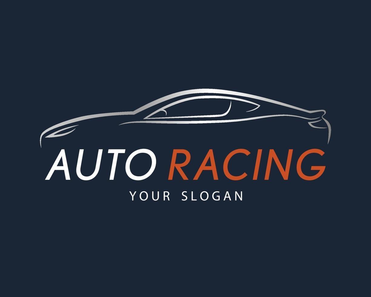 Autorennsymbol auf dunkelblauem Hintergrund. silbernes Sportwagen-Logo-Design. vektor