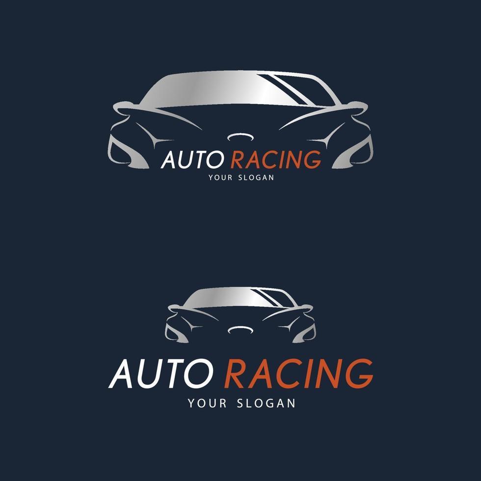 auto racing symbol på mörkblå bakgrund. silver sportbil logo design. vektor