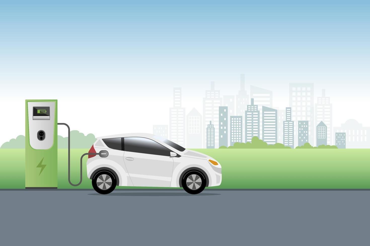 elbil laddning på laddarens servicestation framför ekostadsbakgrund. hybridfordon, miljövänligt bil- eller elfordonskoncept. vektor