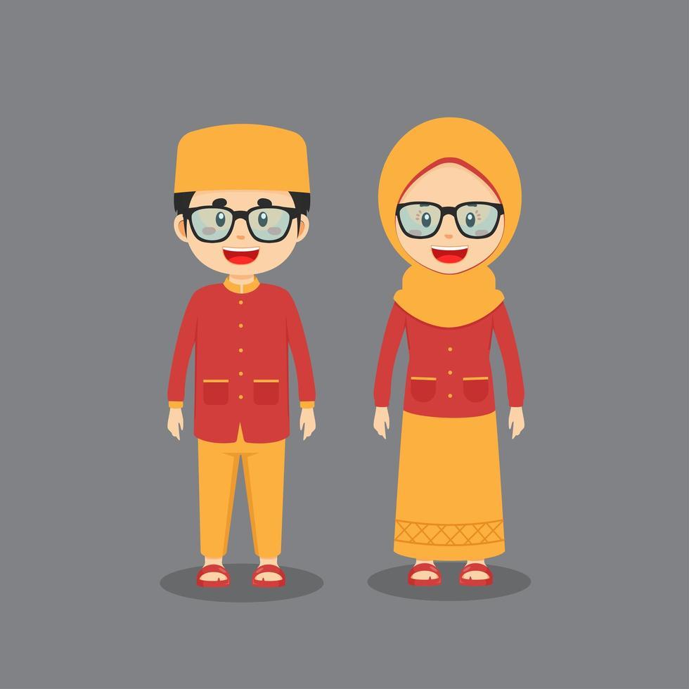 Paar Charakter in muslimischer Kleidung vektor