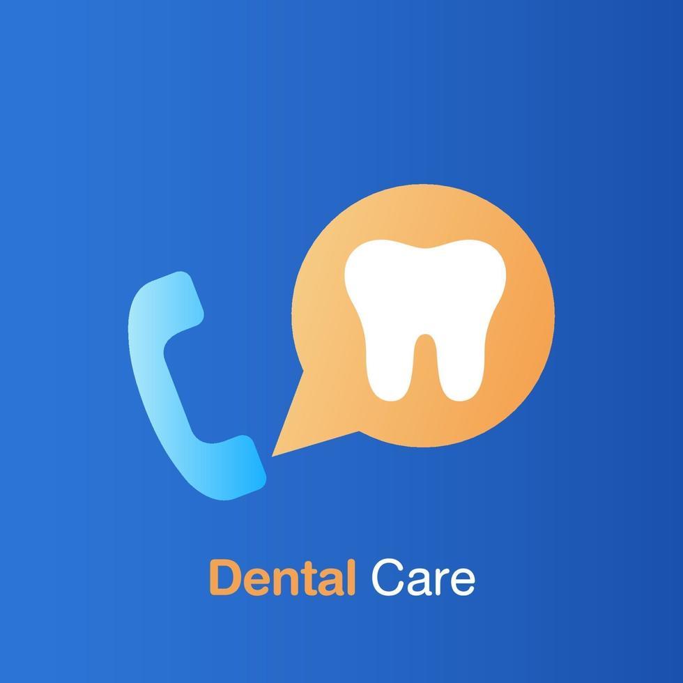 Zahnpflegekonzept. Callcenter für zahnärztliche Informationen. vektor