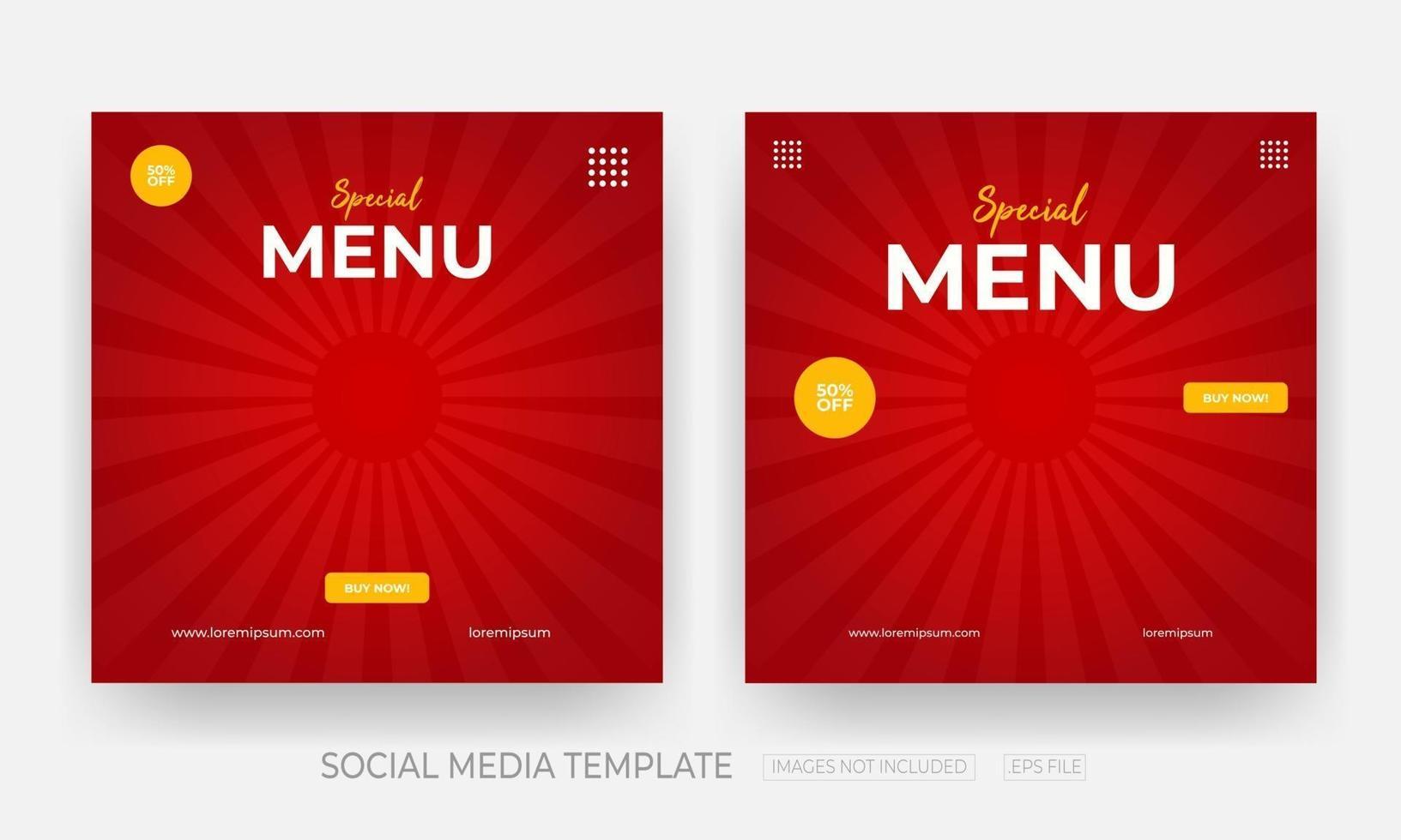 uppsättning mat sociala medier banner post mall vektor