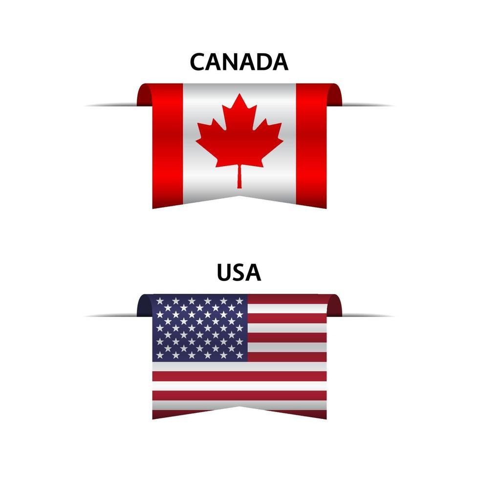 uppsättning av två kanadensiska och amerikanska band. tillverkad i Kanada och tillverkad i USA klistermärken och etiketter. vektor enkla ikoner med flaggor isolerad på en vit bakgrund