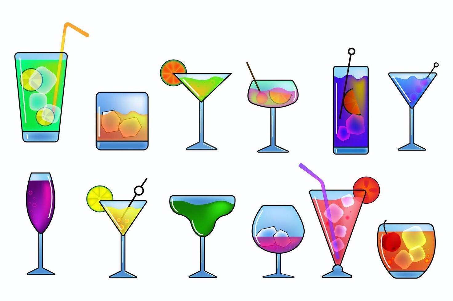 alkohol drycker och cocktails Ikonuppsättning vektor