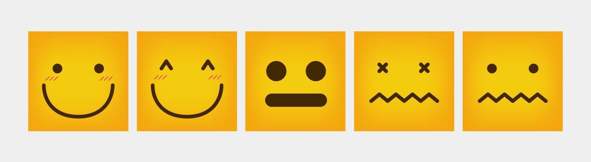 Reaktionsquadrat Design Emoticon flach gesetzt vektor