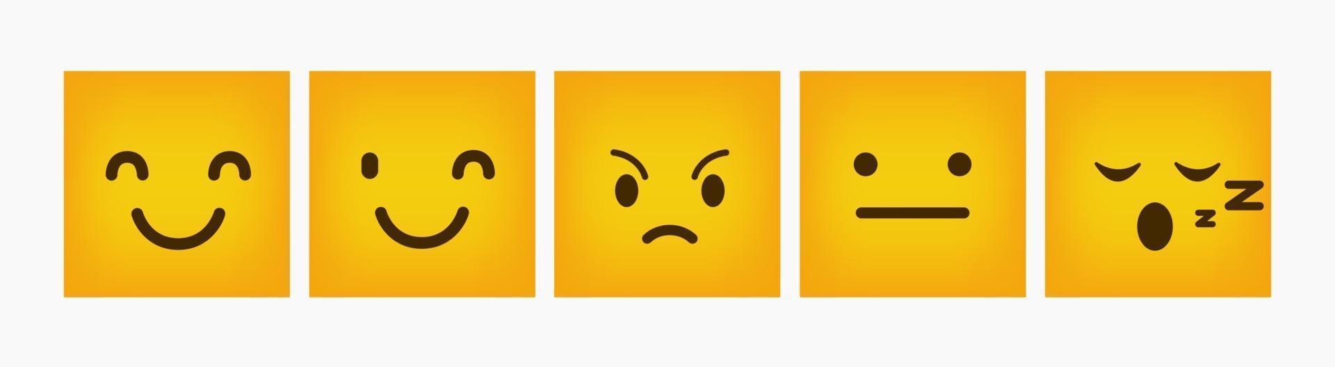 Design Reaktion Emoticon Flat Square Set vektor