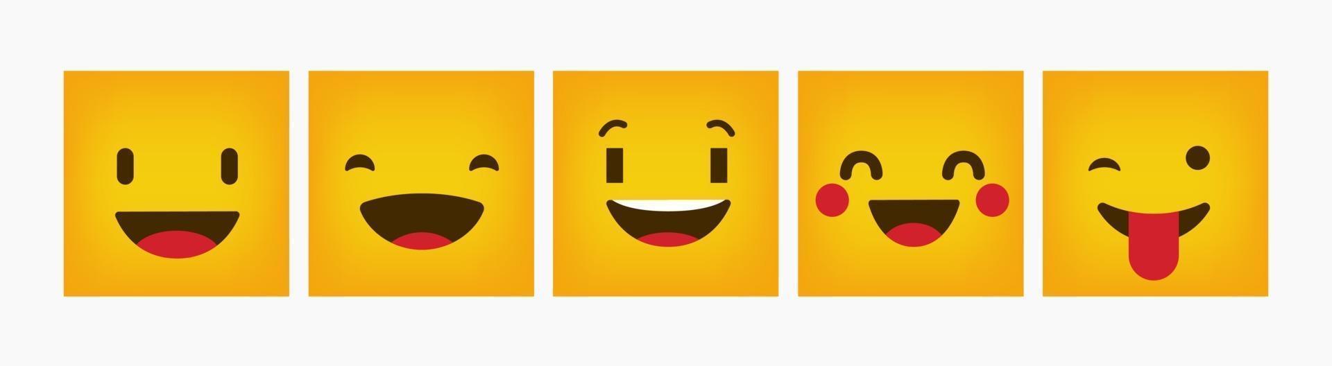 Reaktionsdesign Emoticon Flat Square Set vektor