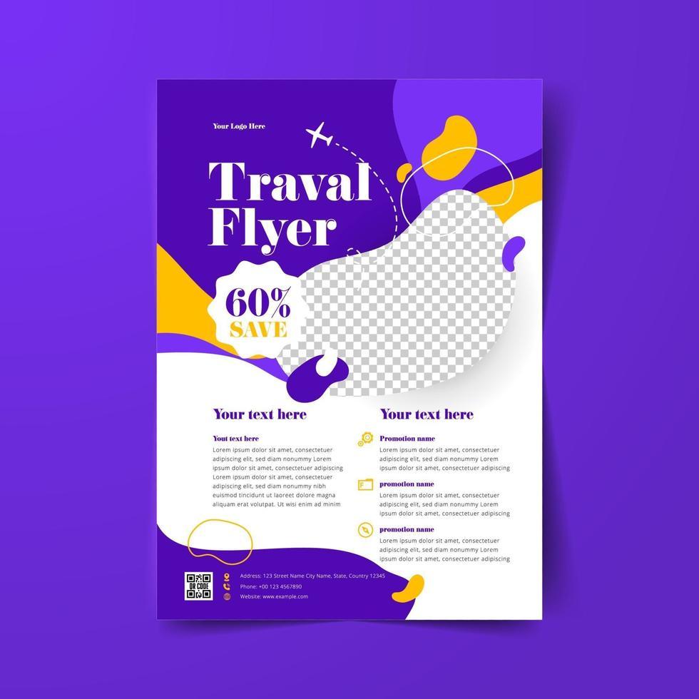 violette Reiseflieger-Layoutvorlage vektor