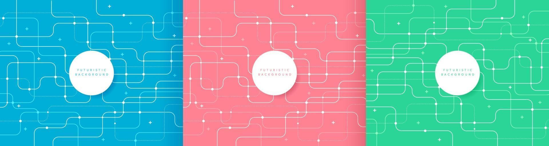 Satz abstrakte futuristische Technologie Hintergrund hellblau rosa und grün Farbe gekrümmte Linien, Punkte mit Kopierraum. einfache und minimale Pastell gestreifte Linienvorlage. flaches Design. Vektorillustration vektor