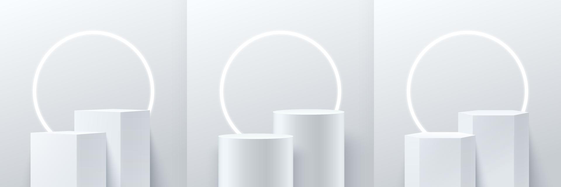 Satz abstrakte Würfel runde und Sechseckanzeige für Produkt auf Website in modernem Design. Hintergrund-Rendering mit Podium und minimaler Textur-Wandszene, 3D-Rendering geometrische Form weiße graue Farbe. vektor