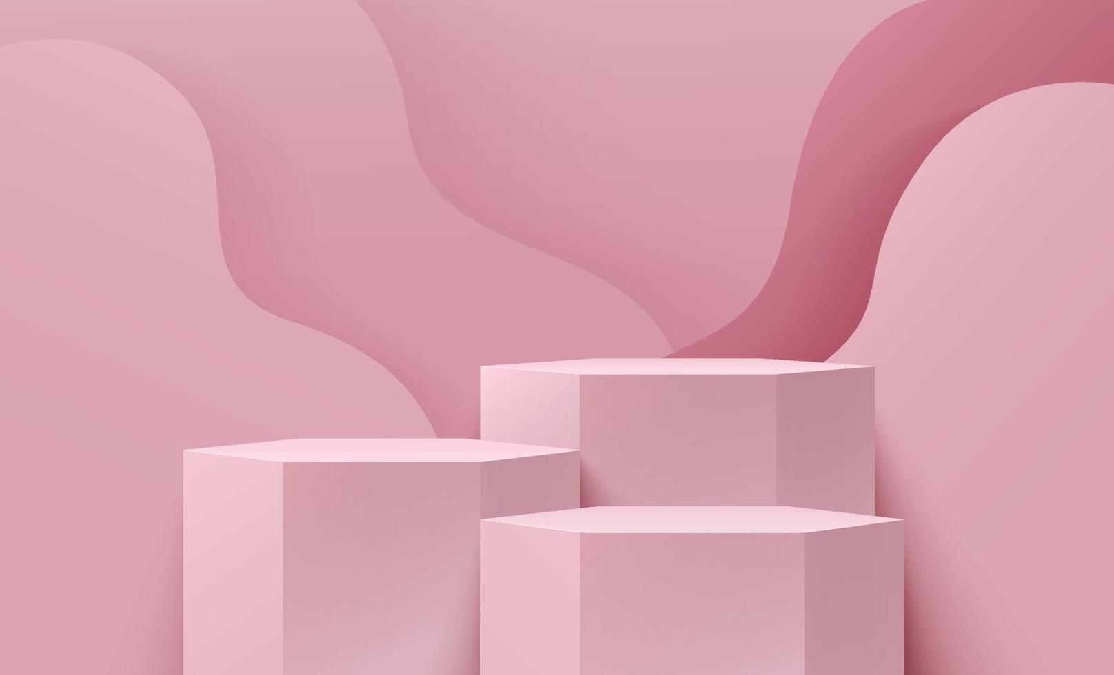 abstrakte Sechseckanzeige für Produkt auf Website in modern. Hintergrund-Rendering mit Podium und minimaler hellrosa Kurvenstruktur-Wandszene, geometrisches Formdesign des Pastell-3D-Renderings. Vektor eps10