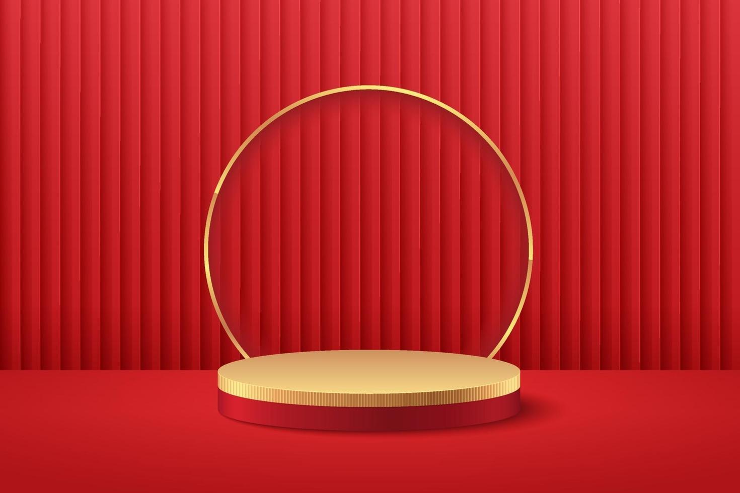 abstrakte runde Anzeige für Produkt auf Website in modernem Design. Hintergrund-Rendering mit Podium und minimaler roter Vorhangbeschaffenheit Wandszene, 3D-Rendering geometrische Form rot und goldene Farbe. orientalisches Konzept. vektor