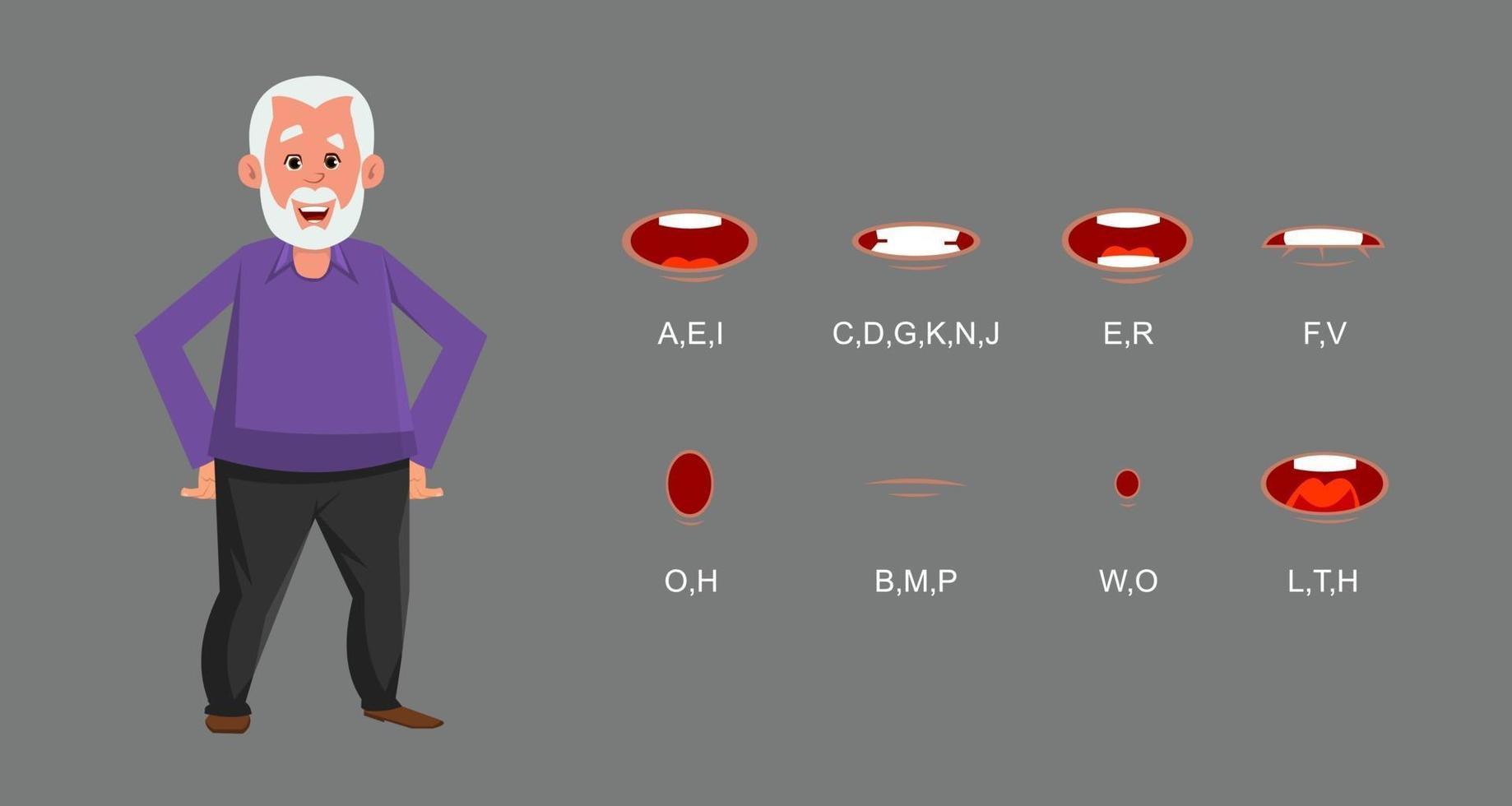 alter Mann Charakter mit Lippensynchronisation. Zeichen für benutzerdefinierte Animation. vektor