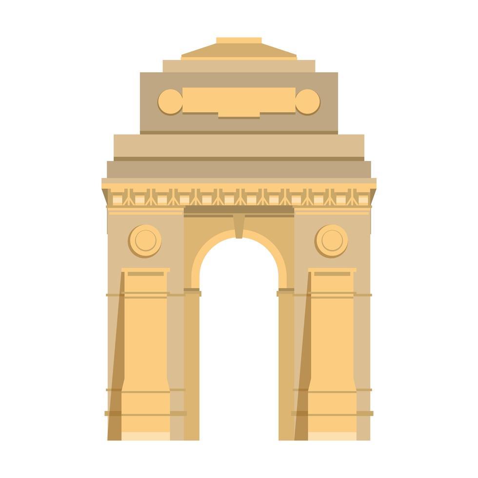 indisches Gateway-Emblem-Gebäudesymbol isoliert vektor