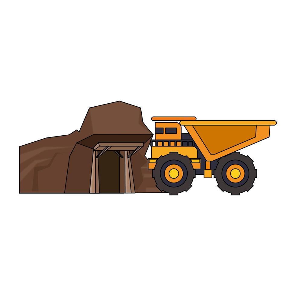 Bergbau Fahrzeug Maschinen isoliert Seitenansicht vektor