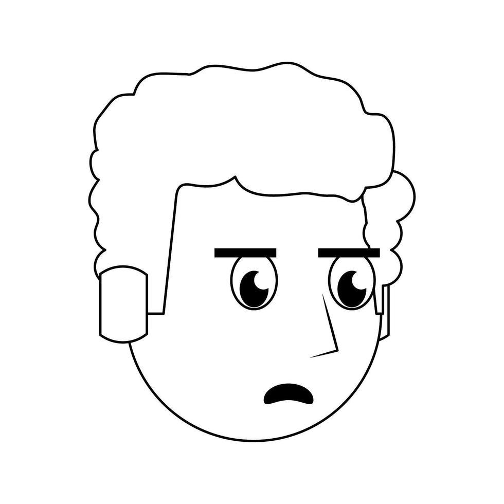 Mann Gesicht Kopf Charakter Cartoon in schwarz und weiß vektor