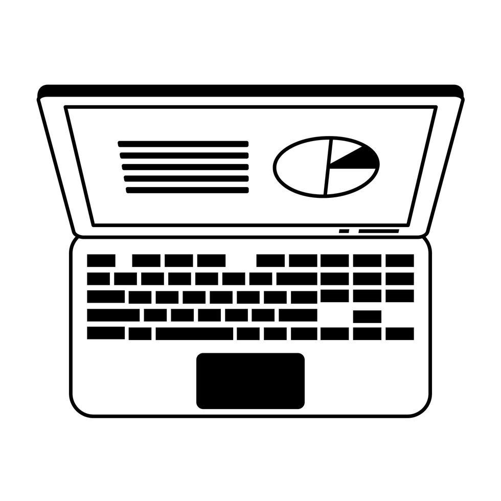 Laptop mit Gewinnsymbol für Unternehmensstatistik in Schwarzweiß vektor