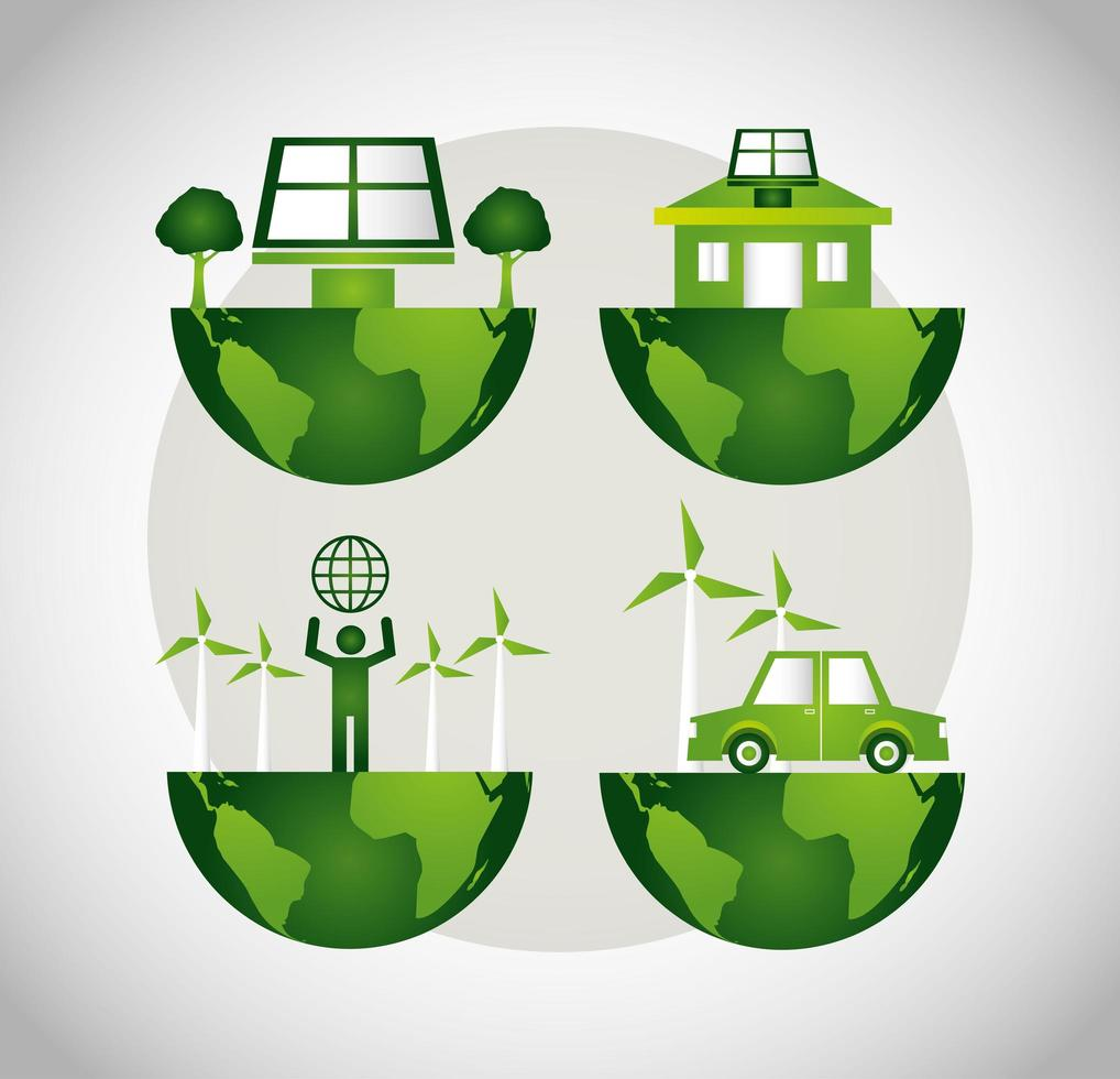 umweltfreundliches Plakat mit Planet Erde Icon Set vektor