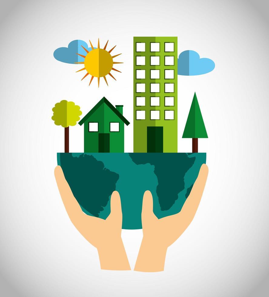 umweltfreundliches Plakat mit Stadtgebäuden vektor