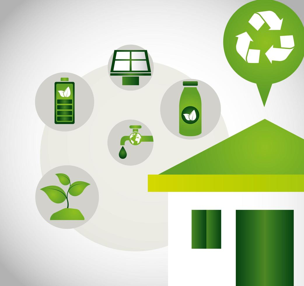 umweltfreundliches Plakat mit Haus und Ikonen vektor