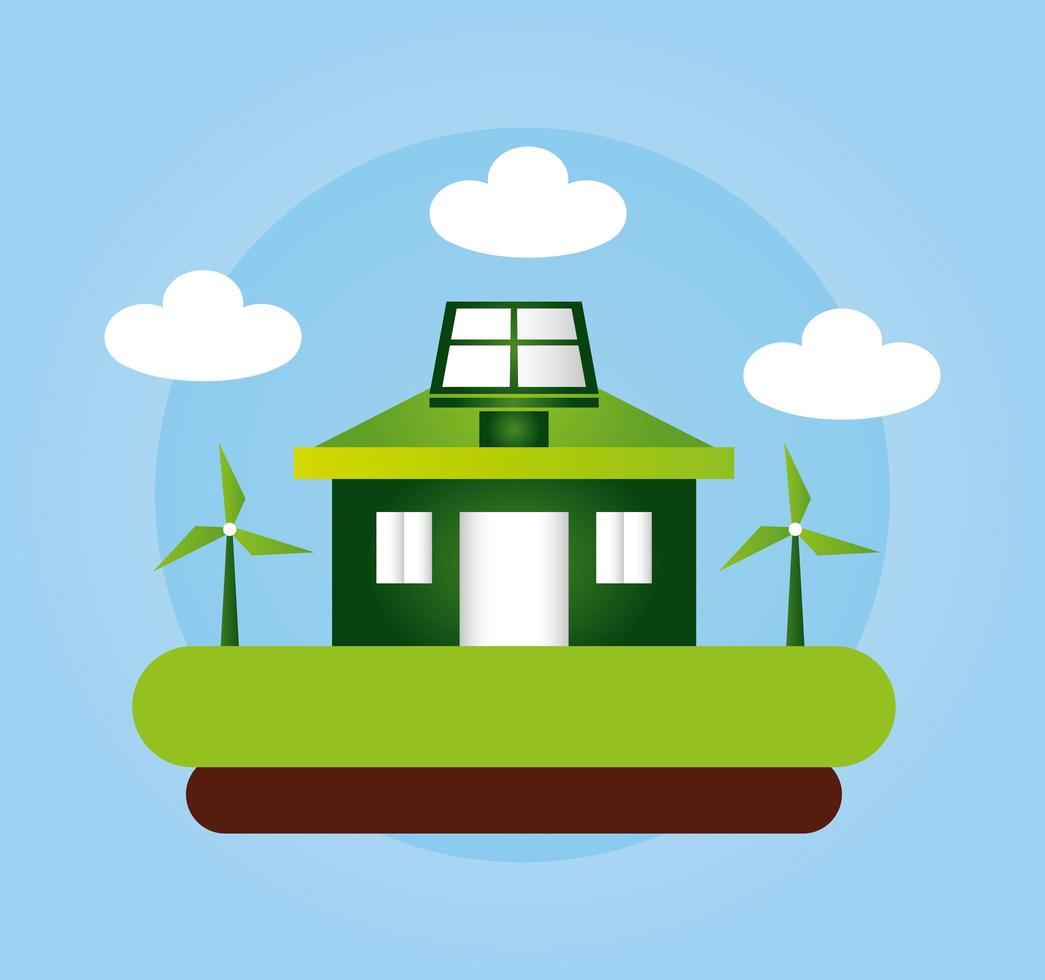 umweltfreundliches Plakat mit Haus- und Windenergie vektor