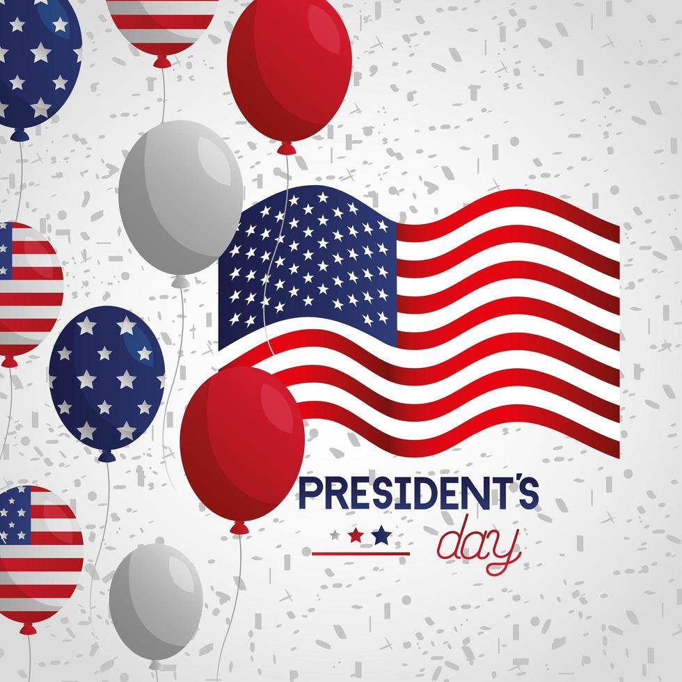 Präsidententagsfeierplakat mit Flagge und Luftballons Helium vektor