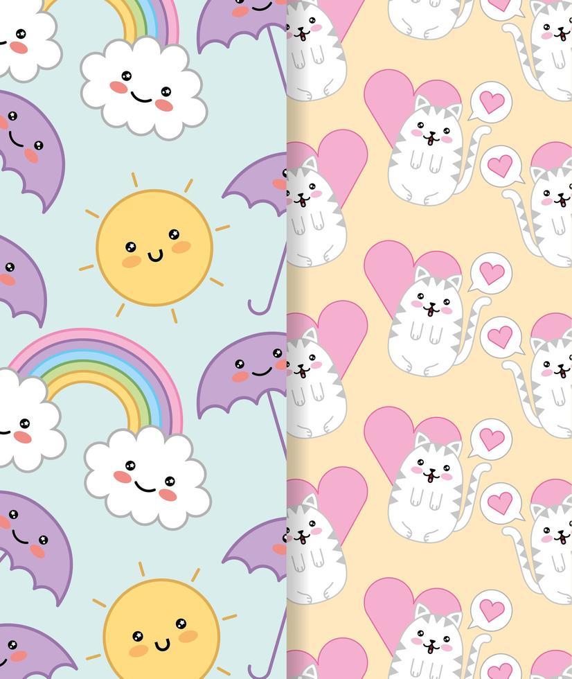 süße kleine Katzen mit Herz und Regenbogen kawaii Mustersatz vektor