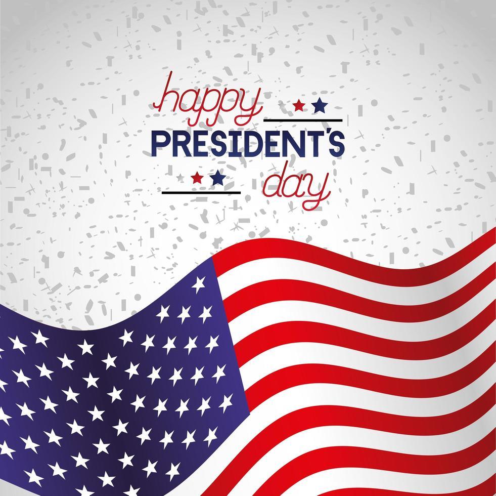 glückliches Präsidententagsfeierplakat mit Flagge vektor
