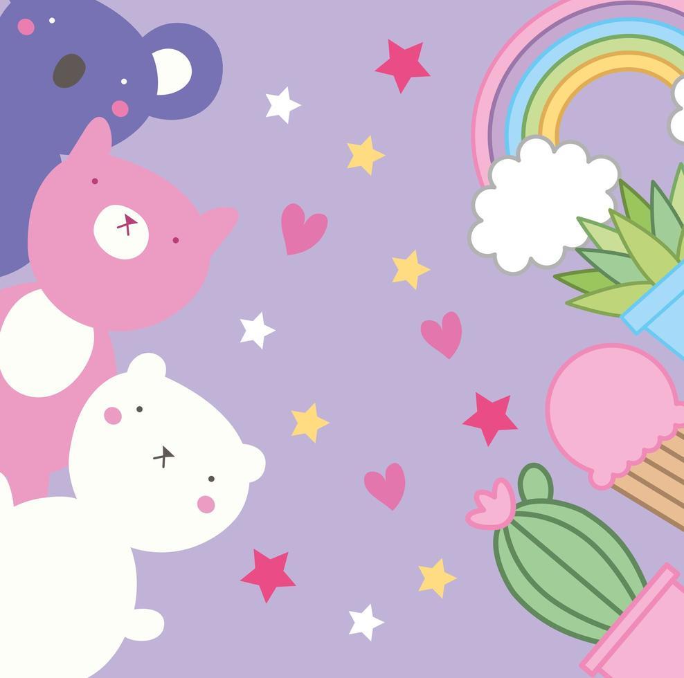 süße kleine Tiere und Pflanzen, kawaii Charaktere vektor