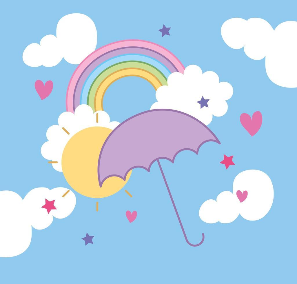 Regenbogen mit Sonne und Regenschirm kawaii Stil vektor