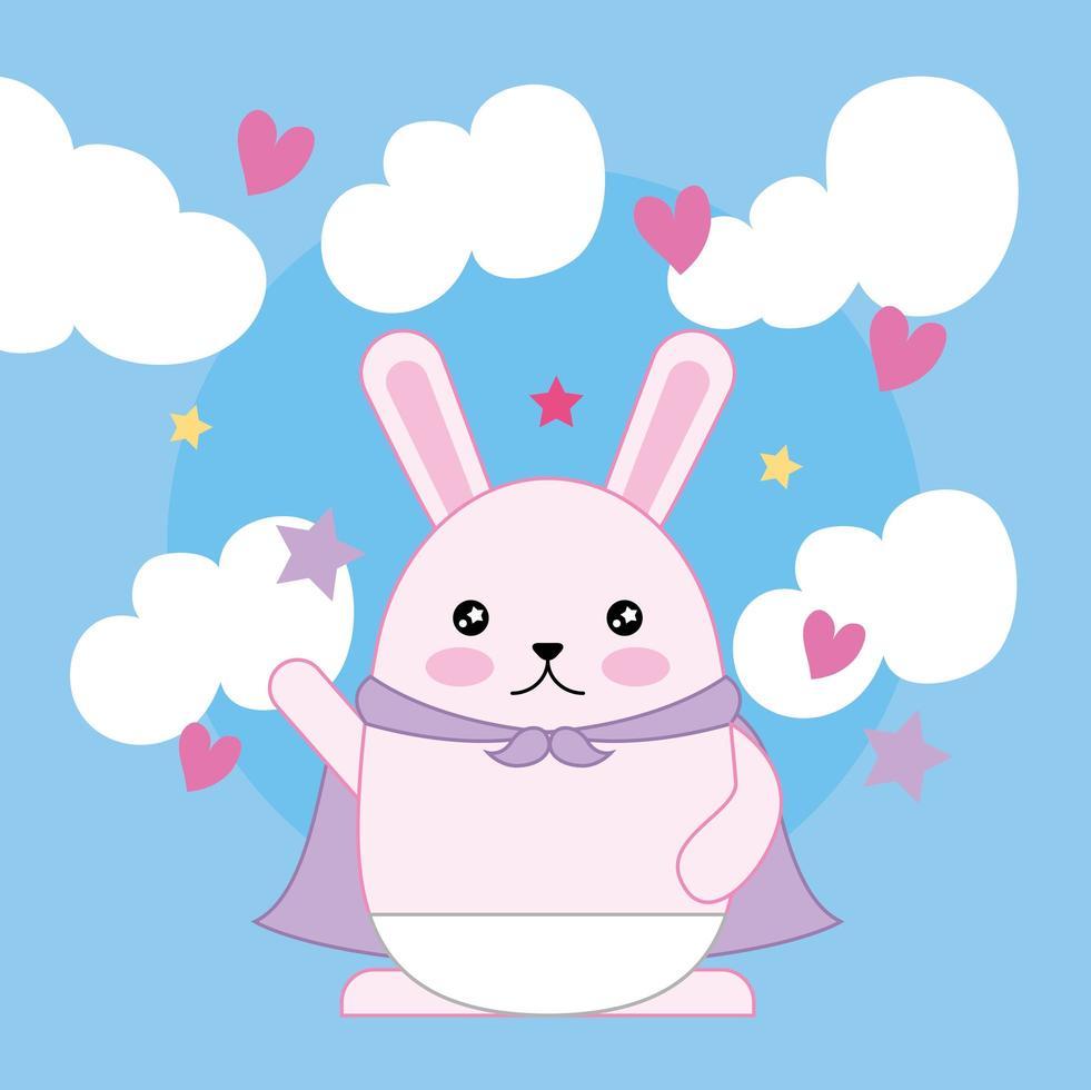 kawaii niedliches kleines Kaninchen mit Wolken vektor