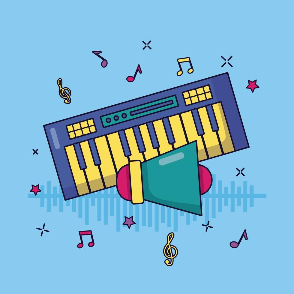 Synthesizer Megaphon Musik bunten Hintergrund vektor