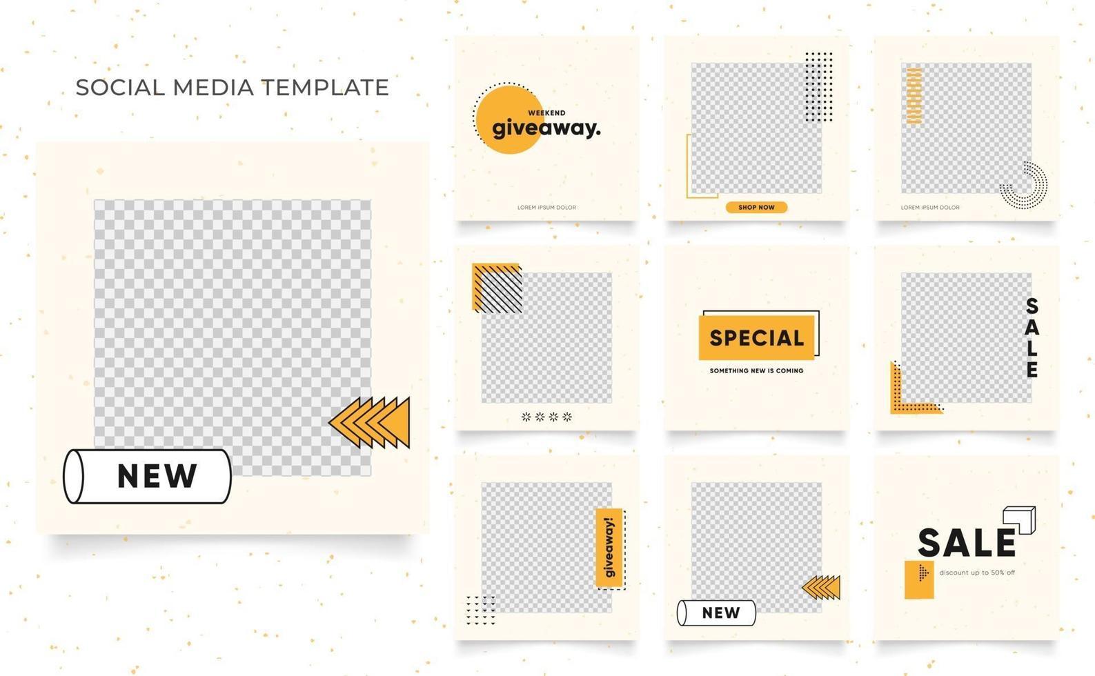 Social Media Vorlage Banner Blog Mode Verkauf Förderung. voll editierbares quadratisches Pfostenrahmen-Puzzle-Bio-Verkaufsplakat. frischer gelber Elementformvektorhintergrund vektor