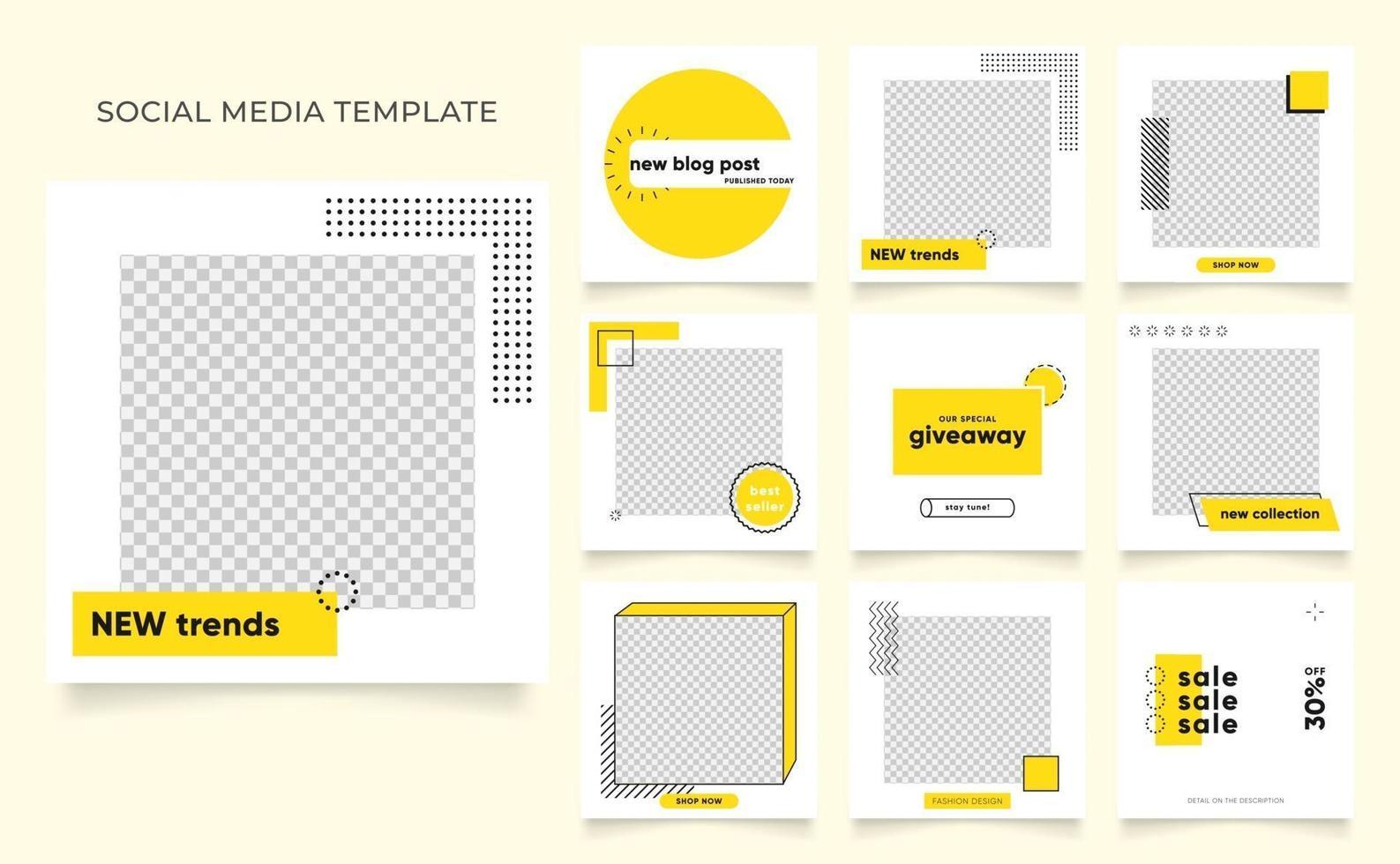 Social Media Vorlage Banner Blog Mode Verkauf Förderung. voll editierbares quadratisches Pfostenrahmen-Puzzle-Bio-Verkaufsplakat. brauner khaki beige Vektorhintergrund vektor