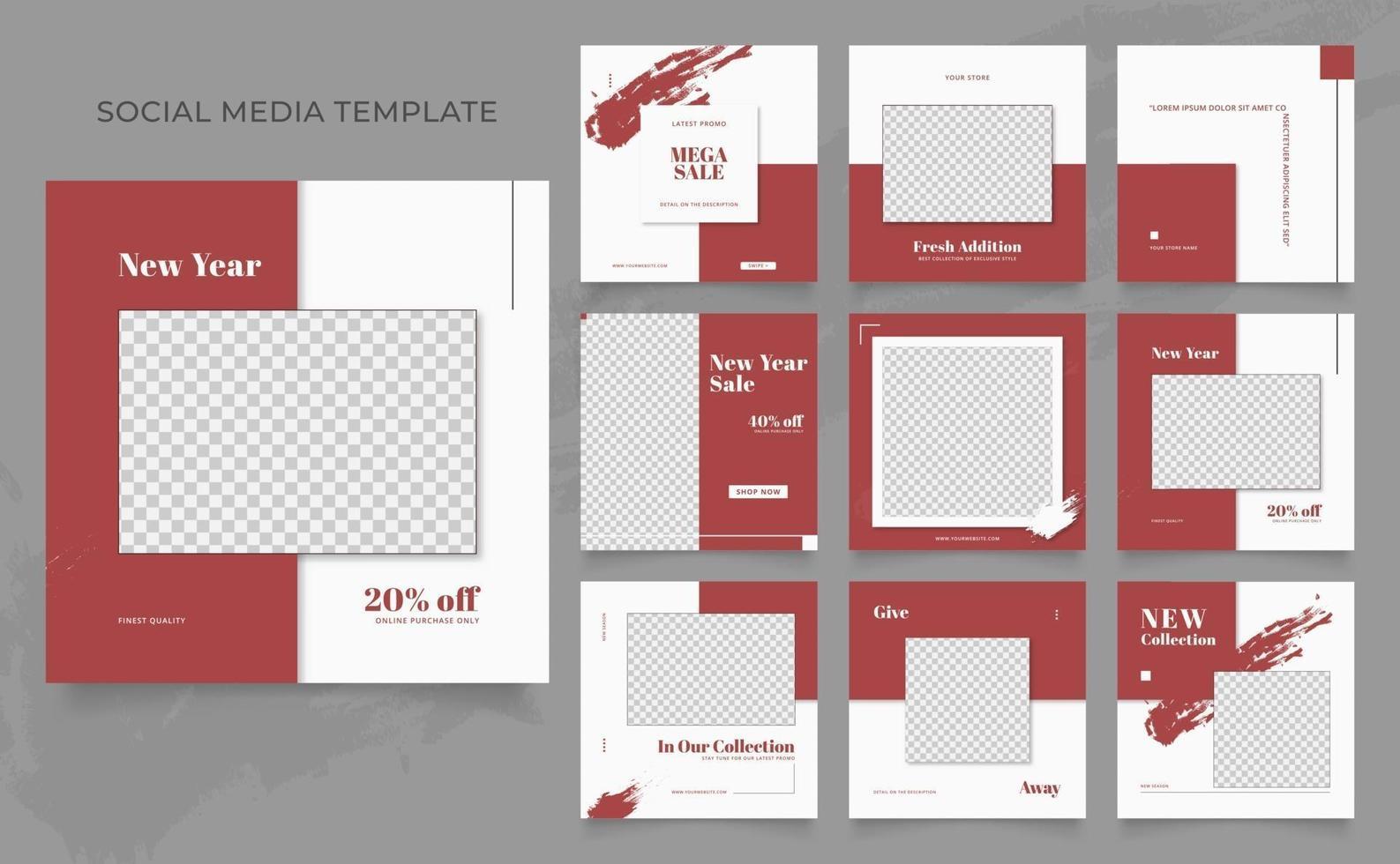 Social Media Vorlage Banner Blog Mode Verkauf Förderung. voll editierbares quadratisches Pfostenrahmen-Puzzle-Bio-Verkaufsplakat. roter weißer Vektorhintergrund vektor