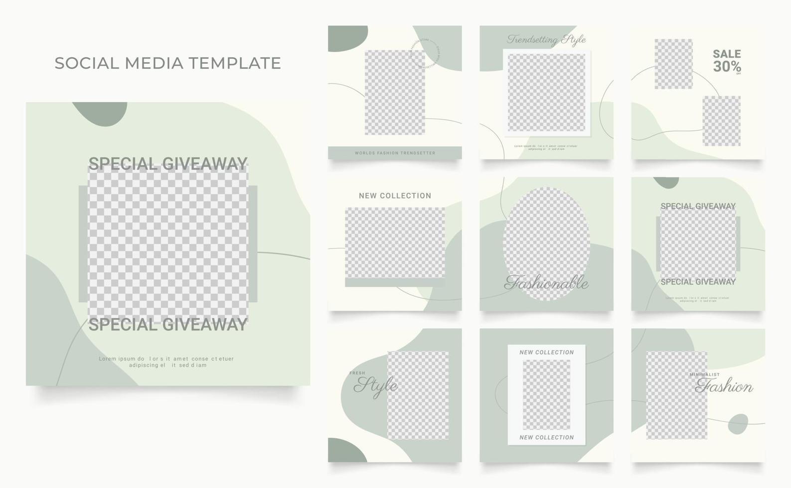 Social Media Vorlage Banner Blog Mode Verkauf Förderung. voll editierbares quadratisches Pfostenrahmen-Puzzle-Bio-Verkaufsplakat. grüner weißer Vektorhintergrund vektor