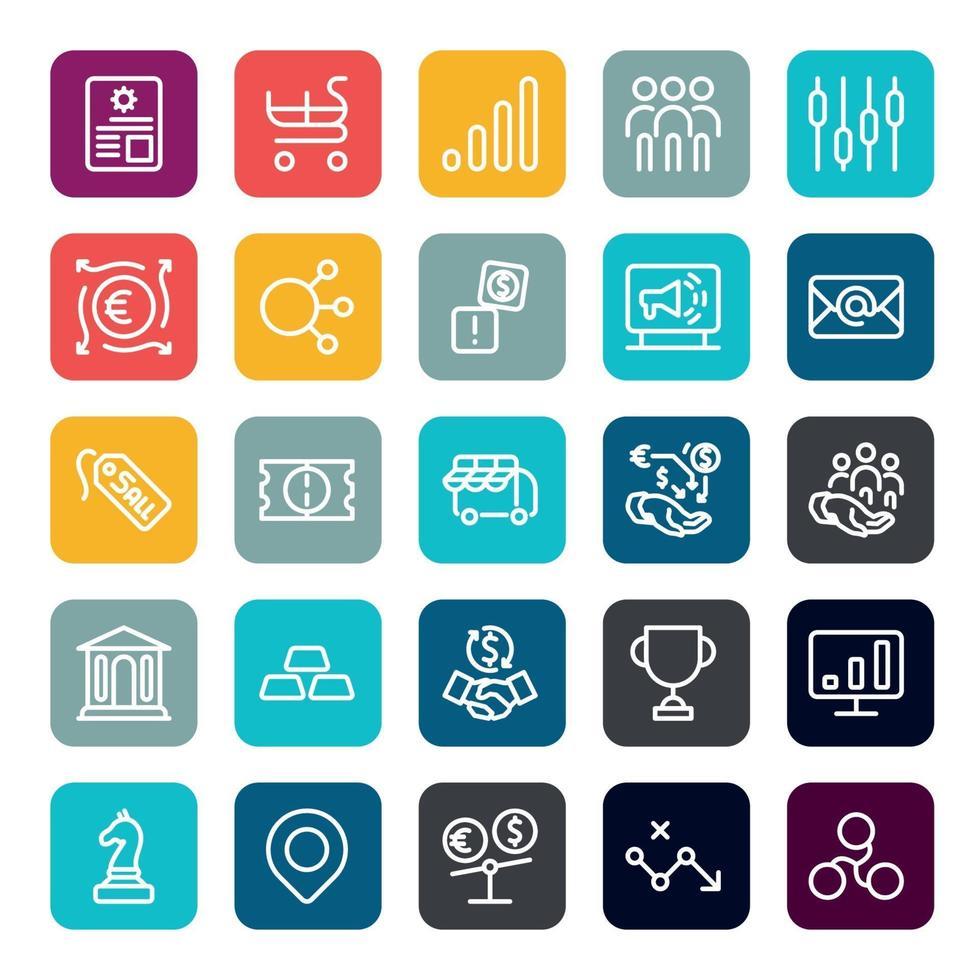 Business Marketing Online- oder Finanzinvestitionsvorteil oder Rendite-Icons mit Umriss auf quadratischer Farbform. Vektor-Infografik. vektor