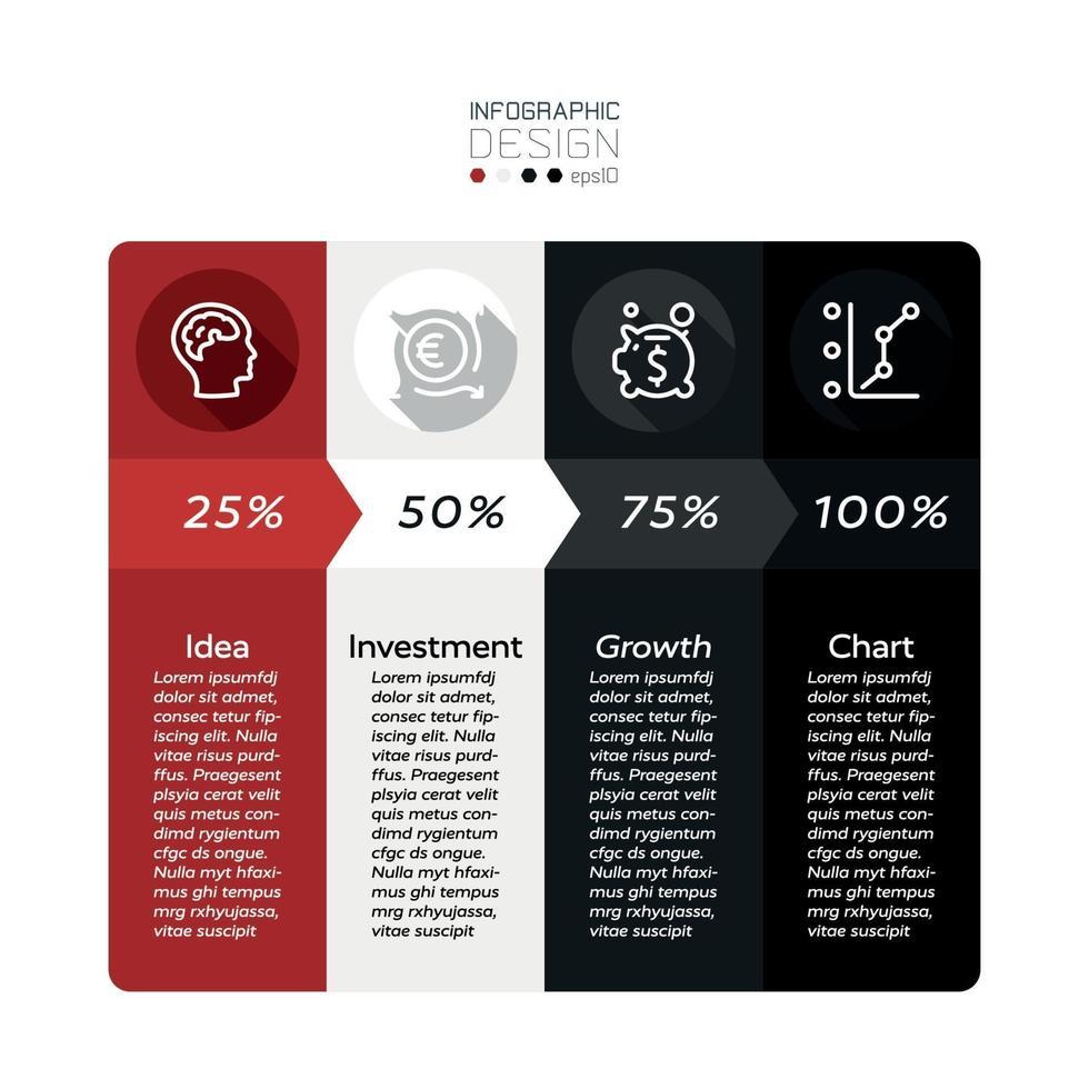 Beschreiben Sie die Ergebnisse von Unternehmenswachstum, Marketing, Werbung oder Finanzinvestitionen in einem quadratischen, flachen Design und einem Vektor-Infografik-Design. vektor