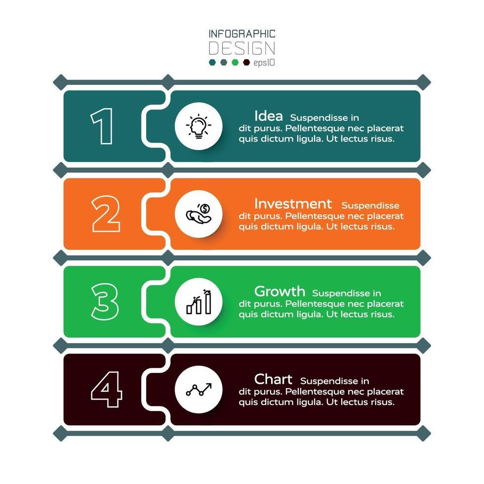 Geschäftsplanung Investition oder Marketing in 4 Schritten Vektor-Label. Infografik Design. vektor