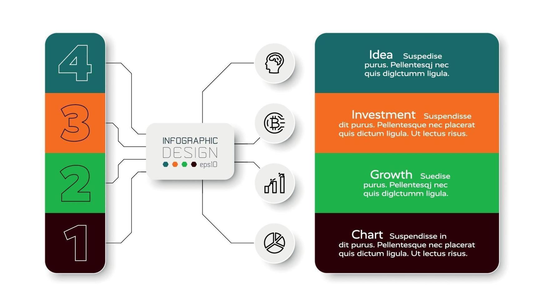 Die 4 Arbeitsschritte in Diagrammform werden zur Zuordnung von Arbeitsaufgaben und zur Planung verwendet. Infografik Design. vektor