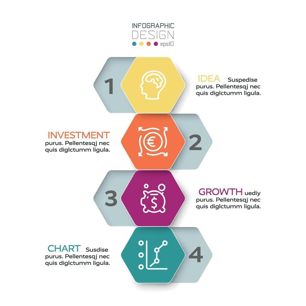 Das sechseckige Design wird in 4 Arbeitsschritten auf Business, Marketing und Präsentationen angewendet. Vektor-Infografik-Design. vektor