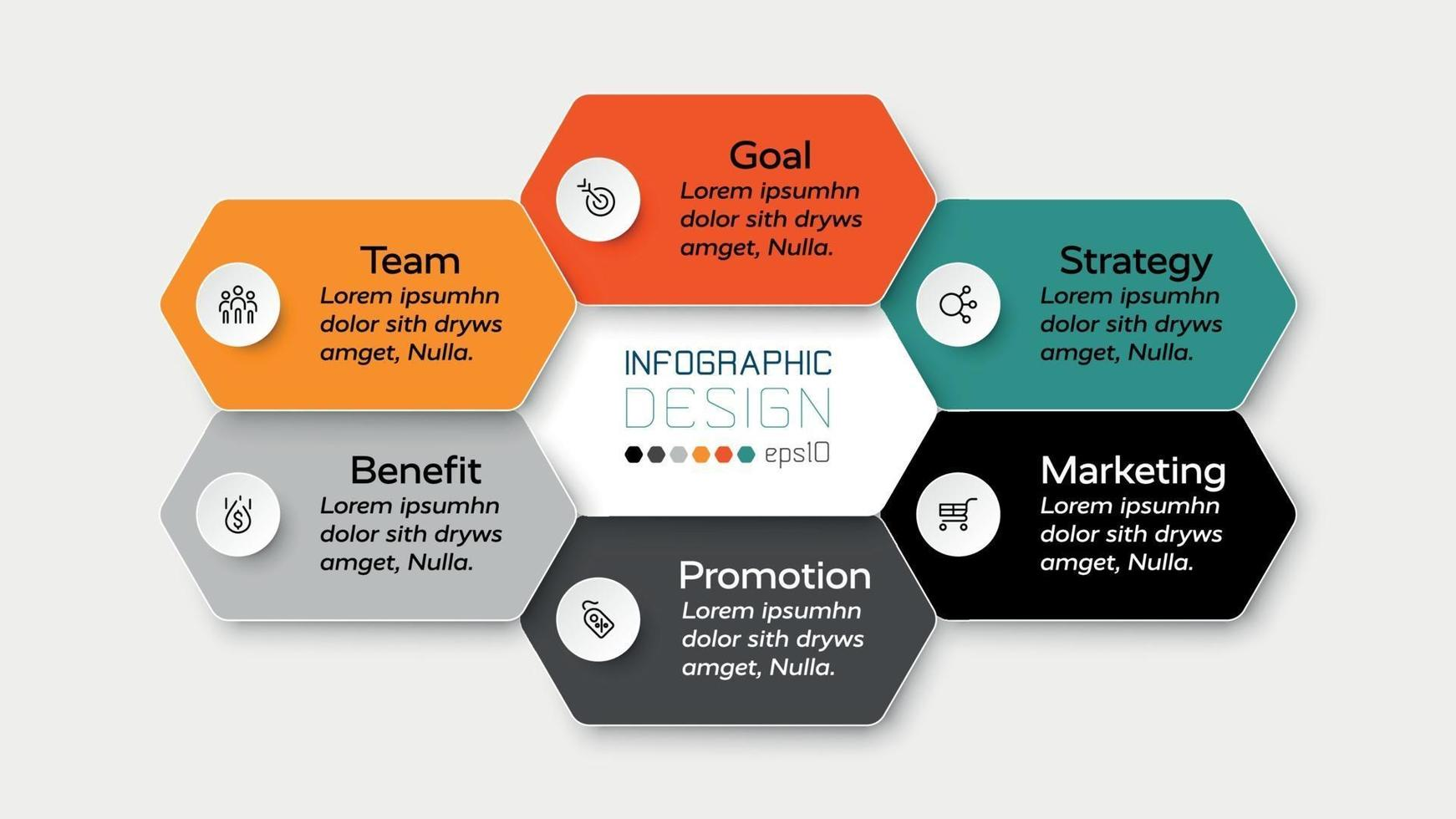 Die Planung einer Geschäftspräsentation, des Marketings und der Schulung wird durch ein Sechseckdesign veranschaulicht, das den Arbeitsprozess erklärt. Vektorillustration. vektor